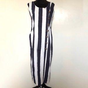 Vintage Sailor Dress Size Medium Nautical Midi